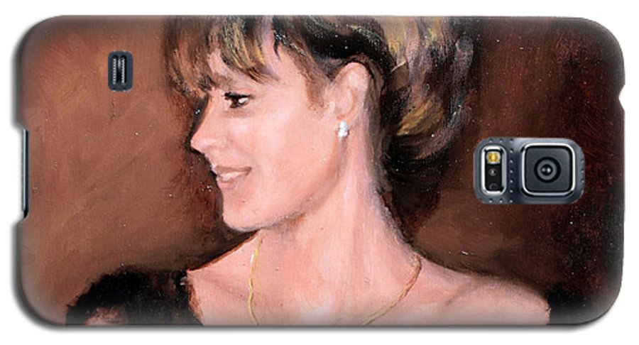 Portrait Galaxy S5 Case featuring the painting Sara by Mario Zampedroni