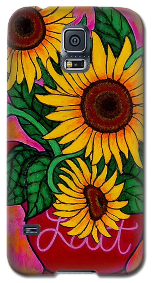 Sunflowers Galaxy S5 Case featuring the painting Saturday Morning Sunflowers by Lisa Lorenz