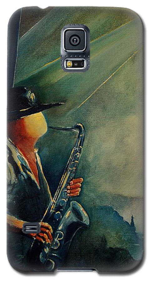 Music Galaxy S5 Case featuring the painting Sax Player by Pol Ledent