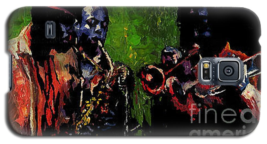 Jazz Galaxy S5 Case featuring the painting Saxophon Players. by Yuriy Shevchuk