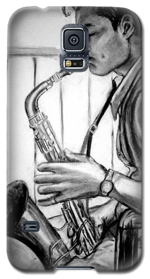 Handsome Man Galaxy S5 Case featuring the drawing Saxophone Player by Laura Rispoli