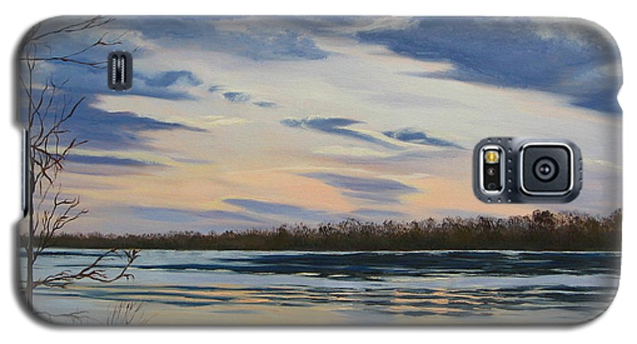 Clouds Galaxy S5 Case featuring the painting Scenic Overlook - Delaware River by Lea Novak