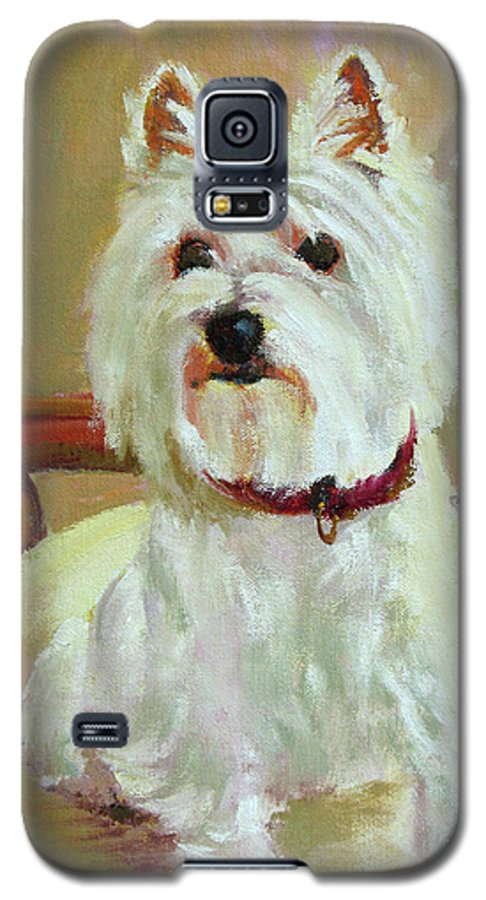 Pet Galaxy S5 Case featuring the painting Schatzie by Keith Burgess