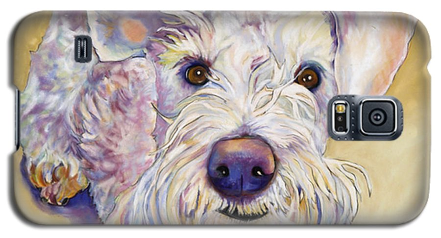 Schnauzer Galaxy S5 Case featuring the pastel Scooter by Pat Saunders-White
