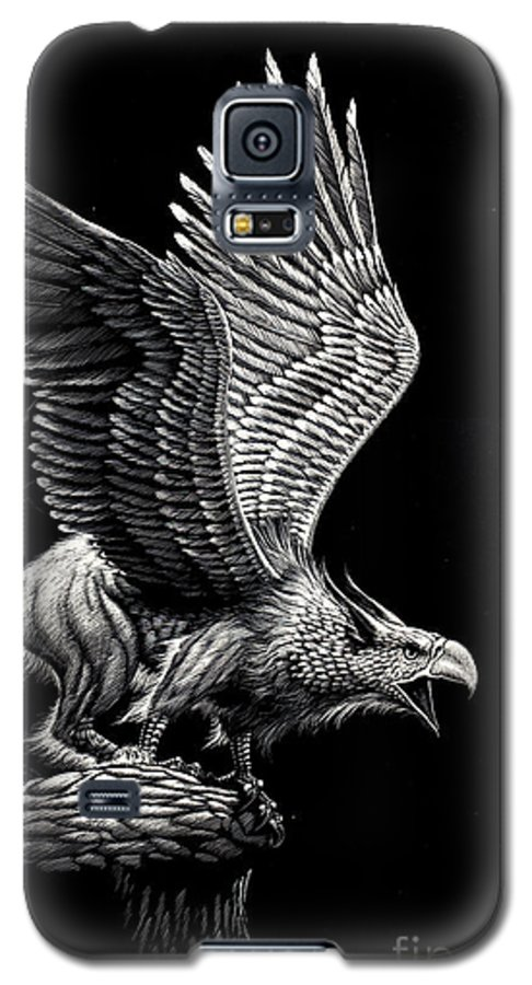 Griffon Galaxy S5 Case featuring the drawing Screaming Griffon by Stanley Morrison