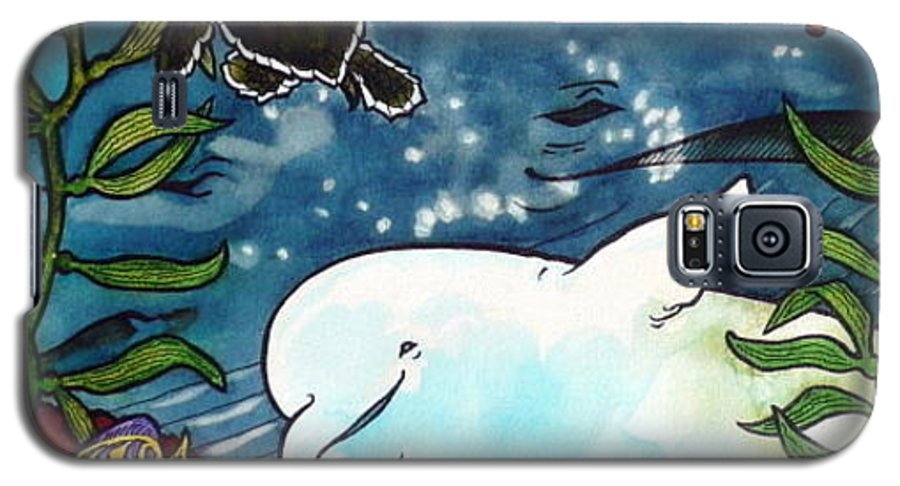 Whale Galaxy S5 Case featuring the painting Sea Fun by Jill Iversen