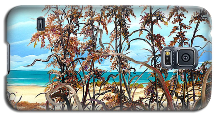 Ocean Painting Sea Oats Painting Beach Painting Seascape Painting Beach Painting Florida Painting Greeting Card Painting Galaxy S5 Case featuring the painting Sea Oats by Karin Dawn Kelshall- Best