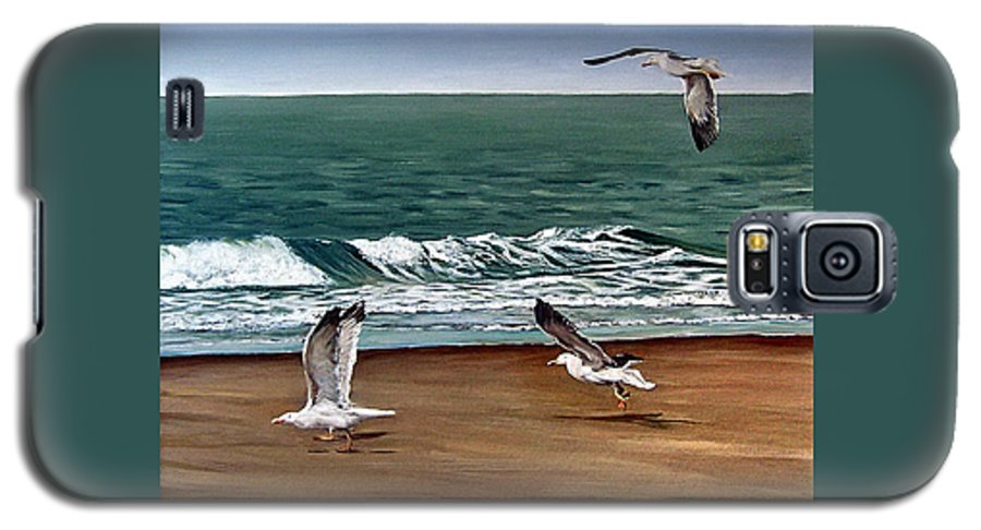 Seascape Galaxy S5 Case featuring the painting Seagulls 2 by Natalia Tejera