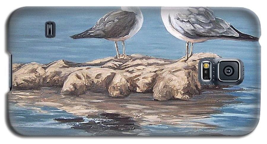Seagulls Sea Seascape Water Bird Galaxy S5 Case featuring the painting Seagulls In The Sea by Natalia Tejera