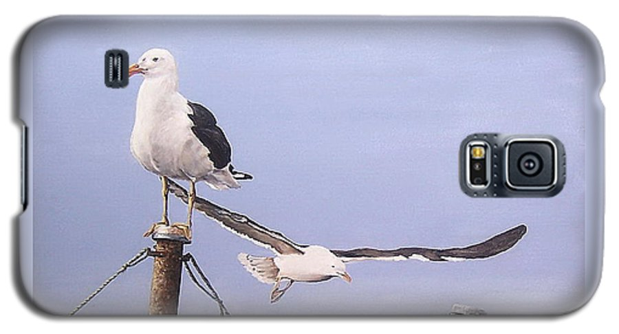 Seascape Gulls Bird Sea Galaxy S5 Case featuring the painting Seagulls by Natalia Tejera
