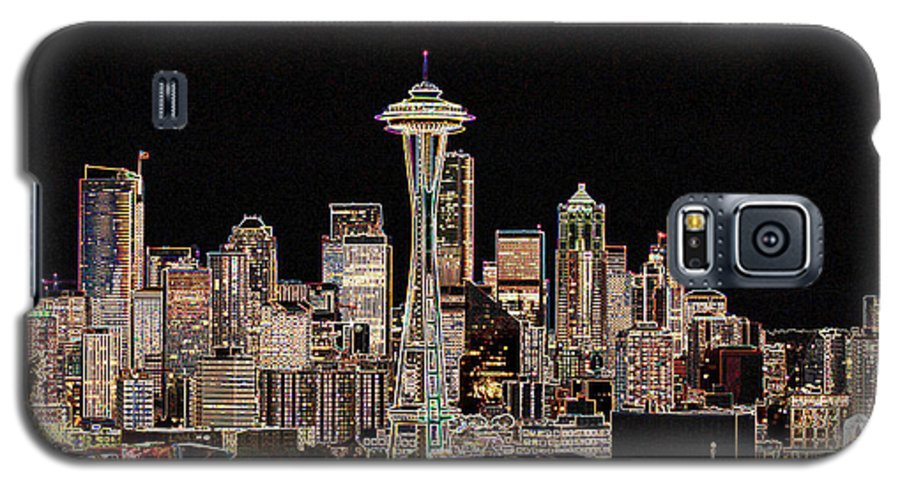 Colorful Galaxy S5 Case featuring the photograph Seattle A Glow by Larry Keahey