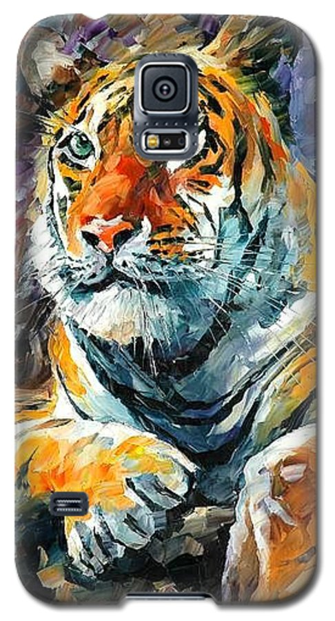 Painting Galaxy S5 Case featuring the painting Seibirian Tiger by Leonid Afremov