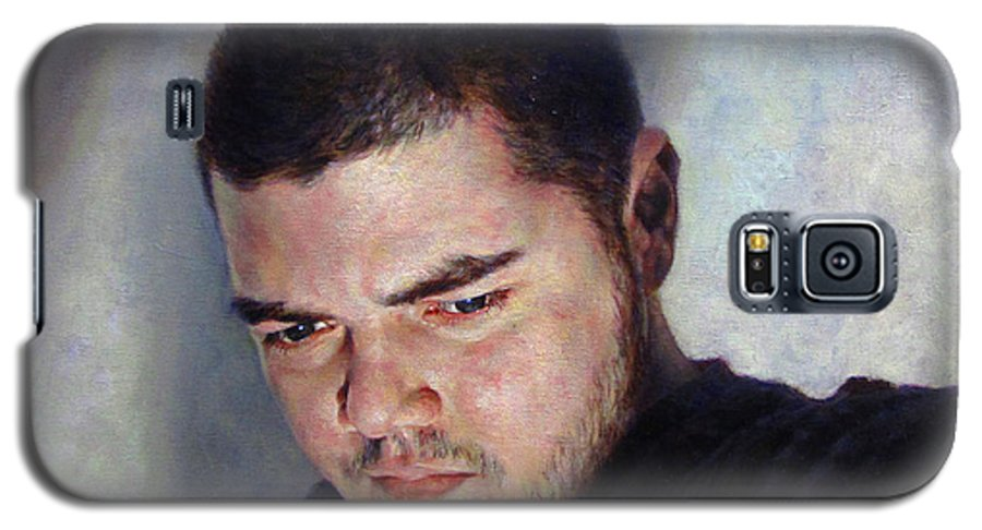 Self Galaxy S5 Case featuring the painting Self Portrait W Shadows by Joe Velez