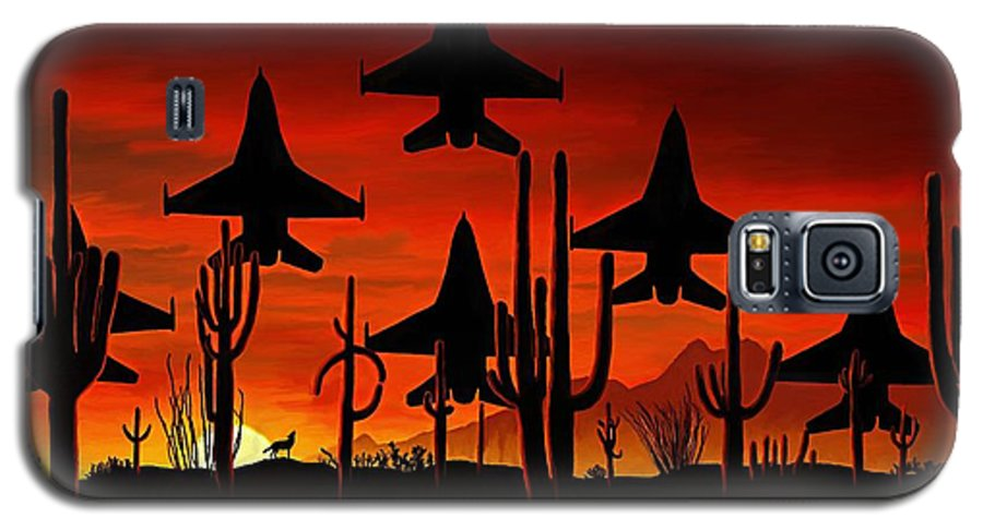 Fine Art Galaxy S5 Case featuring the painting Sentinels by David Wagner