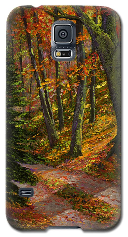 Road In The Woods Galaxy S5 Case featuring the painting September Road by Frank Wilson