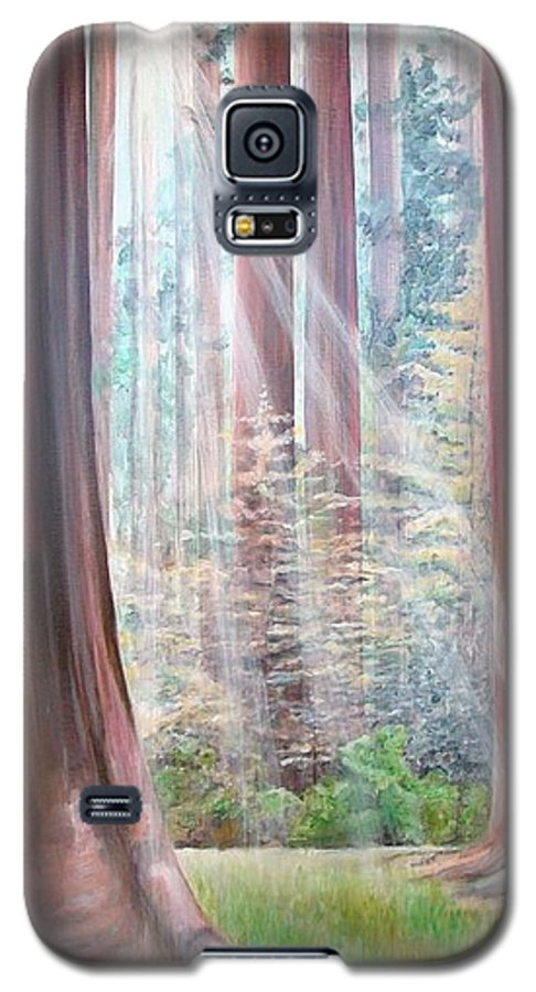 Landscape Galaxy S5 Case featuring the painting Sequoia by Muriel Dolemieux