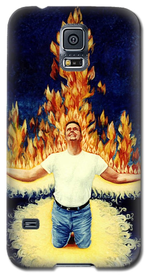 Holy Spirit Fire Galaxy S5 Case featuring the painting Set Aflame by Teresa Carter