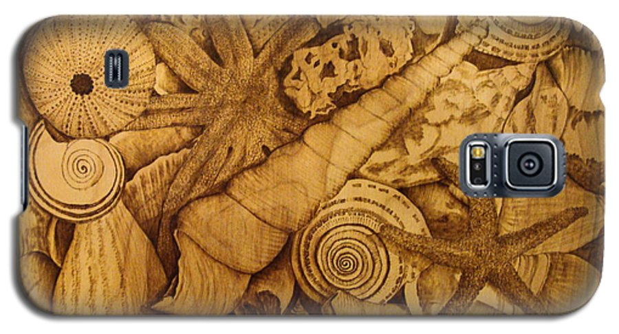 Pyrography; Sepia; Shells; Sea Shells; Starfish; Ocean; Sea; Underwater; Sea Life; Galaxy S5 Case featuring the pyrography Settled by Jo Schwartz