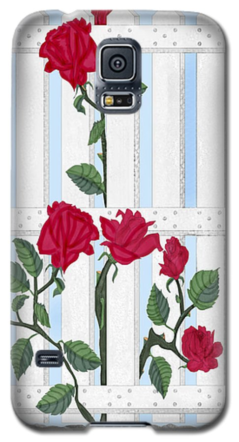 Roses Galaxy S5 Case featuring the painting Seven Roses For Mary by Anne Norskog
