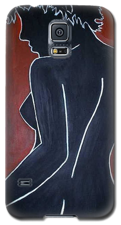 Nude Galaxy S5 Case featuring the painting Shadow by Thomas Valentine