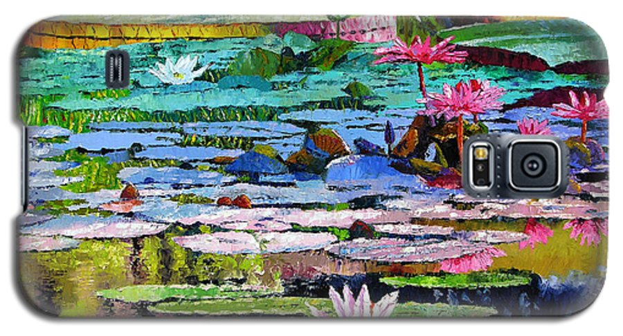 Water Lilies Galaxy S5 Case featuring the painting Shadows And Sunlight by John Lautermilch