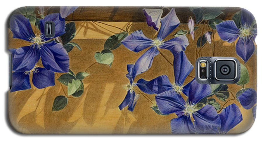 Clematis Galaxy S5 Case featuring the painting Shadows Dancing by Nik Helbig
