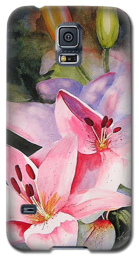 Lilies Galaxy S5 Case featuring the painting Shady Ladies by Karen Stark