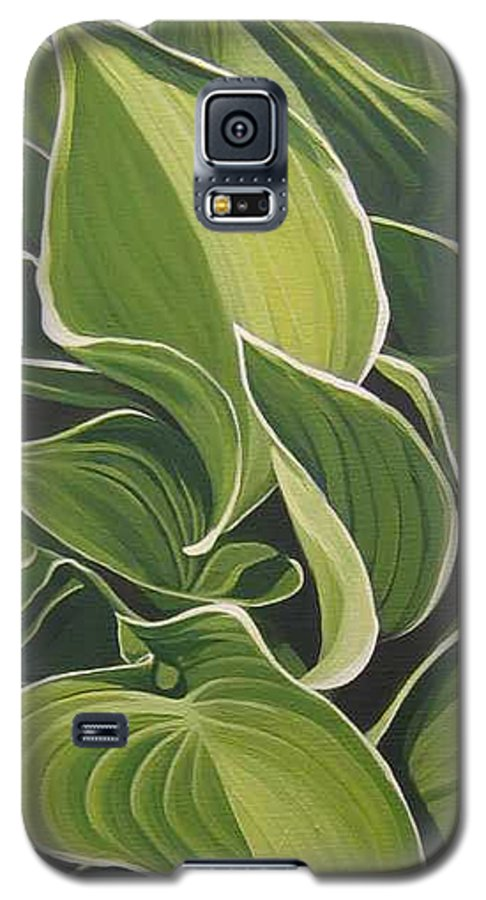 Closeup Of Hosta Plant Galaxy S5 Case featuring the painting Shapes That Go Together by Hunter Jay
