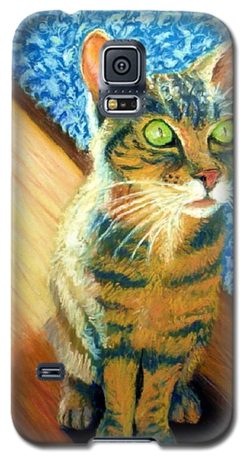 Cat Galaxy S5 Case featuring the painting She Wants To Be Famous by Minaz Jantz