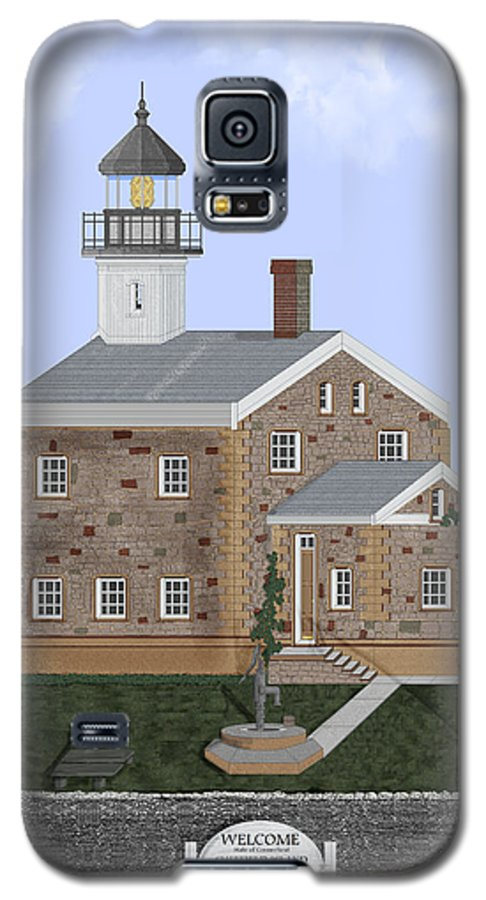Lighthouse Galaxy S5 Case featuring the painting Sheffield Island Lighthouse Connecticut by Anne Norskog