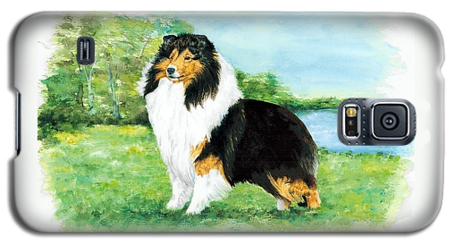 Shetland Sheepdog Galaxy S5 Case featuring the painting Sheltie Wait by Kathleen Sepulveda