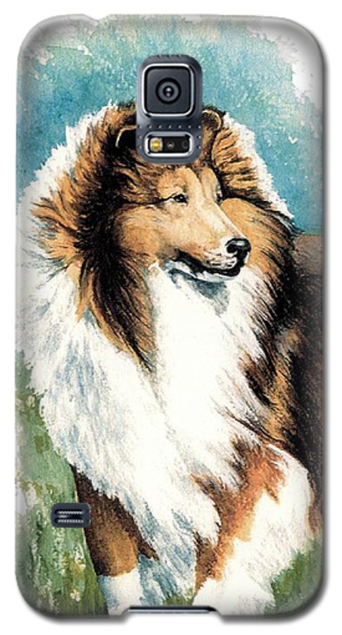 Shetland Sheepdog Galaxy S5 Case featuring the painting Sheltie Watch by Kathleen Sepulveda