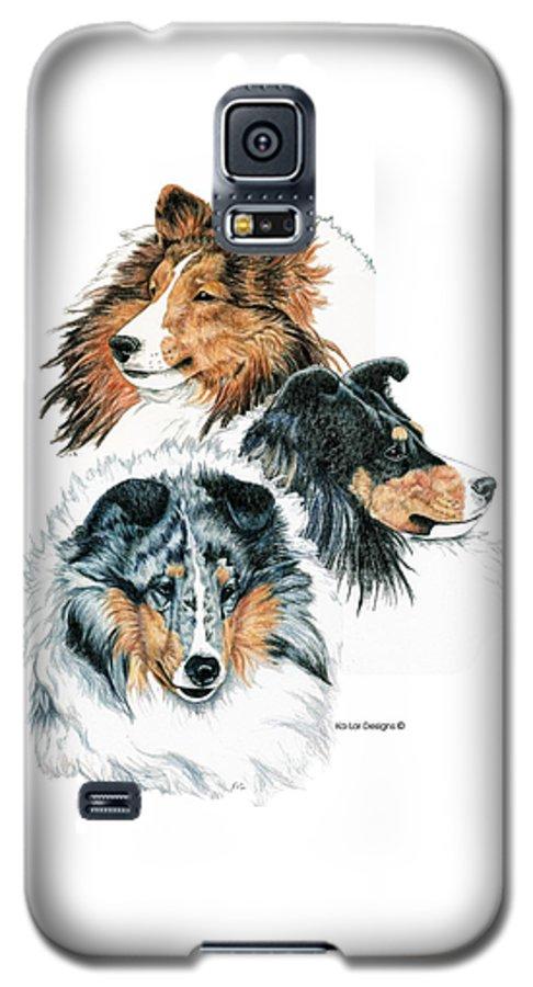 Shetland Sheepdog Galaxy S5 Case featuring the drawing Shetland Sheepdogs by Kathleen Sepulveda