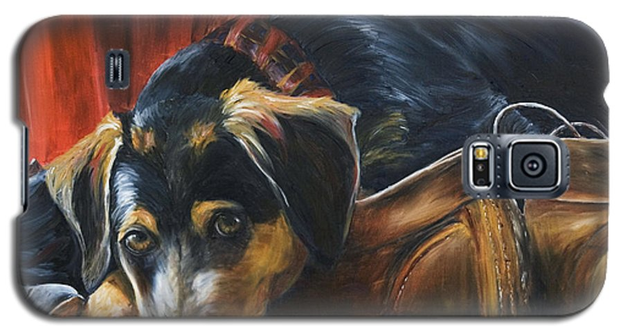 Dog Galaxy S5 Case featuring the painting Shoe Dog by Nik Helbig
