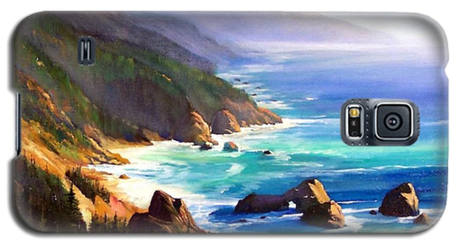 Seascape Galaxy S5 Case featuring the painting Shore Trail by Frank Wilson