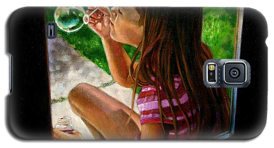 Girl Galaxy S5 Case featuring the painting Sierra Blowing Bubbles by John Lautermilch