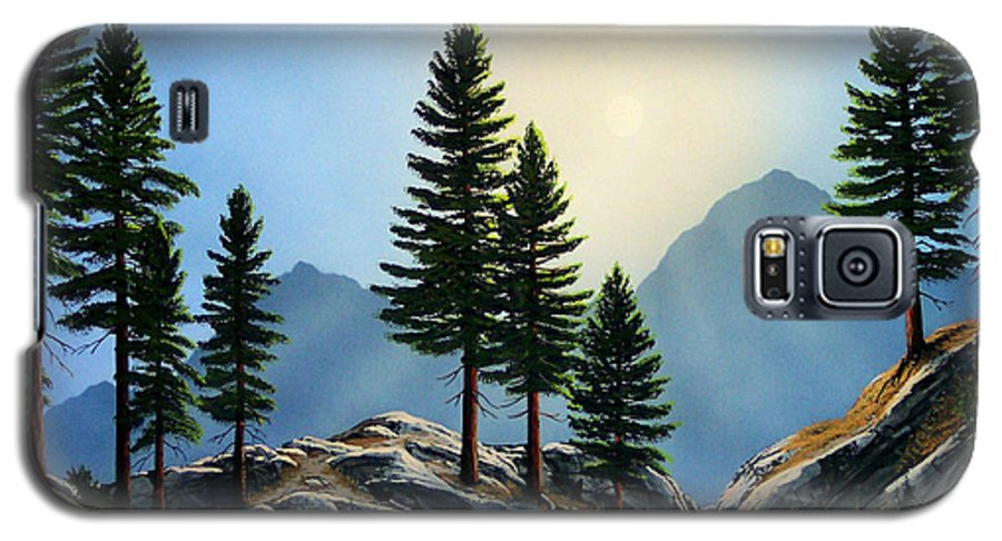 Landscape Galaxy S5 Case featuring the painting Sierra Sentinals by Frank Wilson