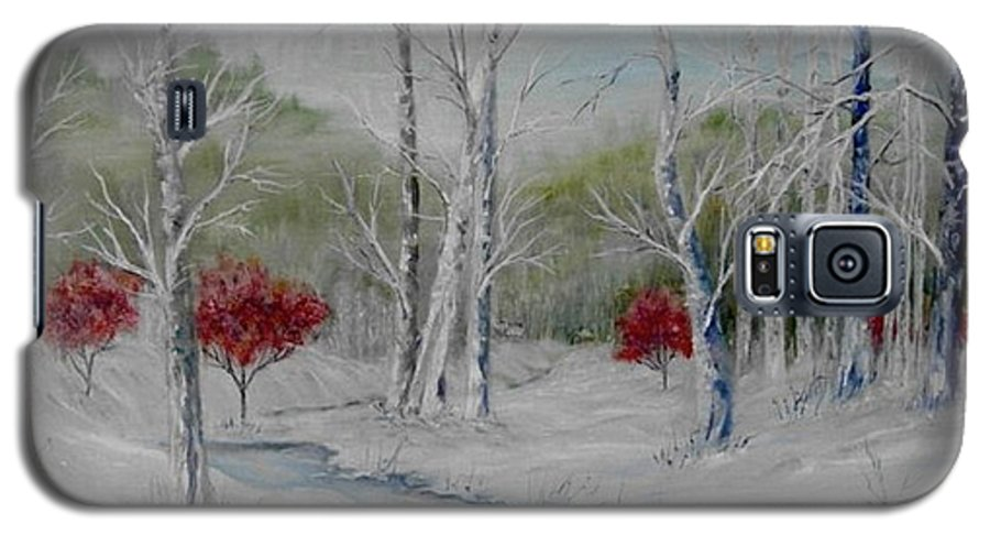 Snow; Winter; Birch Trees Galaxy S5 Case featuring the painting Silence by Ben Kiger