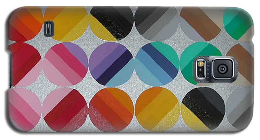 Circles Of Yellow Galaxy S5 Case featuring the painting Silver Lining by Gay Dallek