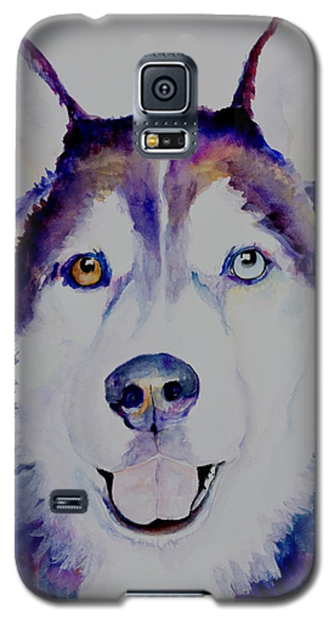 Siberian Husky Galaxy S5 Case featuring the painting Simba by Pat Saunders-White