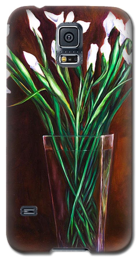 Iris Galaxy S5 Case featuring the painting Simply Iris by Shannon Grissom