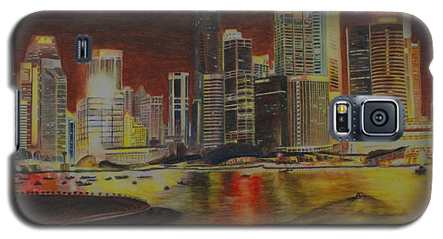 Cityscape Galaxy S5 Case featuring the painting Singapore Nights by Nik Helbig