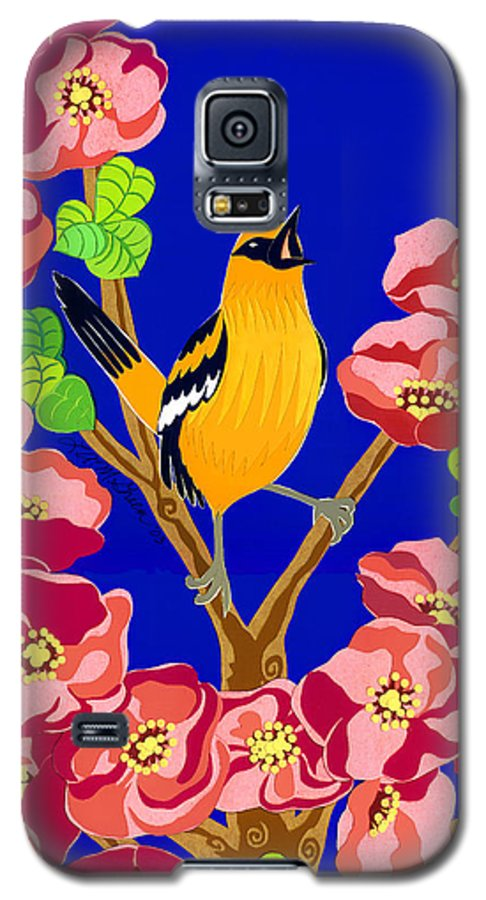 Nature Galaxy S5 Case featuring the drawing Singing Oriole by Lucyna A M Green