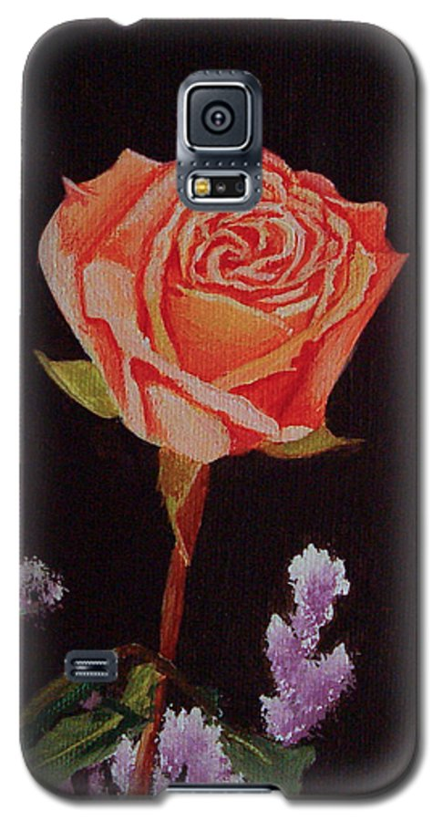 Rose Galaxy S5 Case featuring the painting Single Rose by Quwatha Valentine