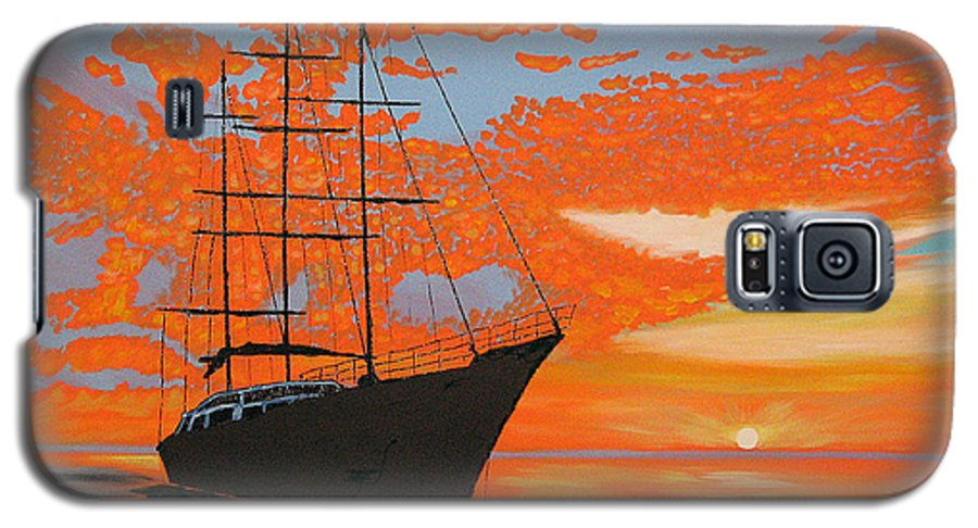 Seascape Galaxy S5 Case featuring the painting Sittin' On The Bay by Marco Morales