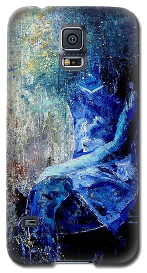 Woman Girl Fashion Galaxy S5 Case featuring the painting Sitting Young Girl by Pol Ledent