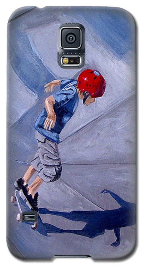 Boy Galaxy S5 Case featuring the painting Skateboarding by Quwatha Valentine