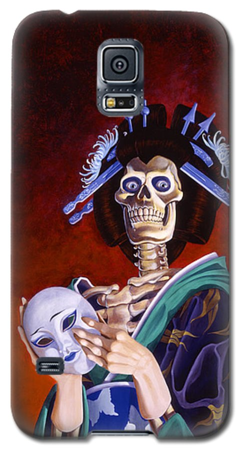 Skeleton Galaxy S5 Case featuring the painting Skeletal Geisha With Mask by Melissa A Benson