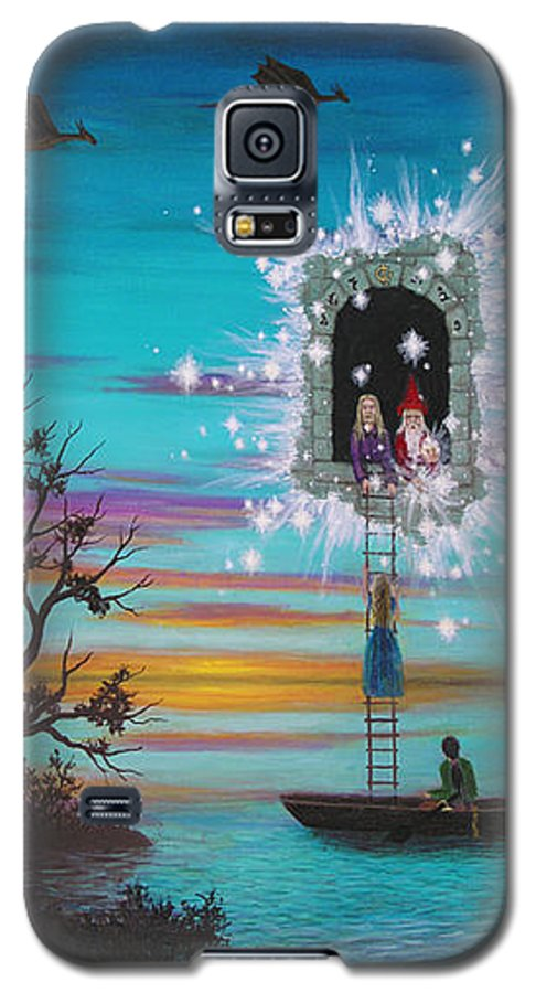 Fantasy Galaxy S5 Case featuring the painting Sky Window by Roz Eve