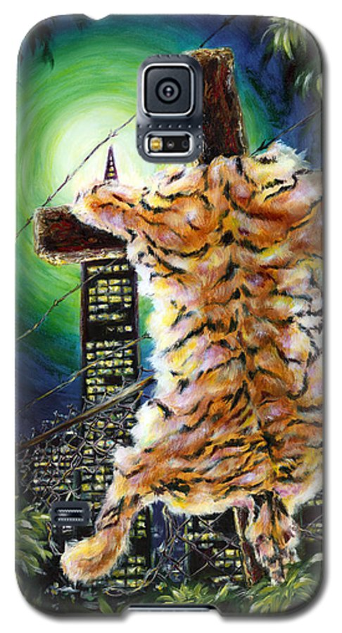 Tiger Galaxy S5 Case featuring the painting Slough... What I Have Left Behind The Fence To Survive In This Strange City by Hiroko Sakai